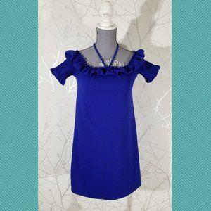 Zara Blue Purple Ruffled Square Neck Short Dress